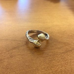 David Yurman offset two tone cable ring